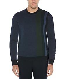 Men's Birdseye Placed Stripe Long Sleeve Crew Neck Sweater