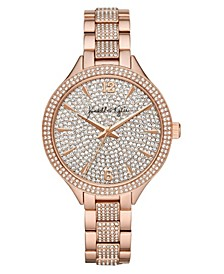 Women's Rose Gold Tone Crystal Embellished Stainless Steel Strap Analog Watch 40mm