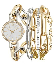 Women's Dainty Two-Tone Silver and Gold Tone Chain Link Stainless Steel Strap Analog Watch and Layered Bracelet Set 40mm