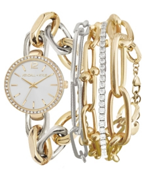 Women's Kendall + Kylie Dainty Two-Tone Silver and Gold Tone Chain Link Stainless Steel Strap Analog Watch and Layered Bracelet Set 40mm