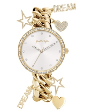 Women's Kendall + Kylie Charm Link Gold Tone and Mother Of Pearl Stainless Steel Strap Analog Watch 40mm