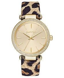 Women's Gold Tone with Leopard Printed Leather Stainless Steel Strap Analog Watch 40mm