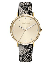 Women's Gold Tone with Gray Snakeskin Stainless Steel Strap Analog Watch 40mm