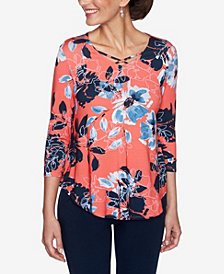 Ruby Rd. Plus Sizes Women's Neon Floral Print Top