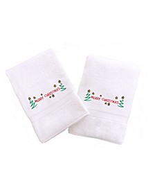 Textiles Embroidered Hand Towels with Merry Christmas Set of 2