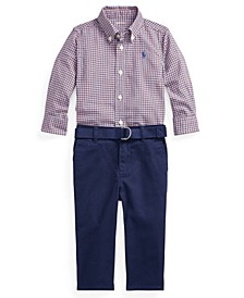 Ralph Lauren Baby Boys Shirt, Belt and Pant Set