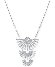 "Silver-Tone Crystal Triple Tier 31-3/8"" Pendant Necklace"