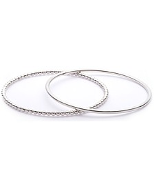 2-Pc. Set Polished & Beaded Bangle Bracelets in Sterling Silver