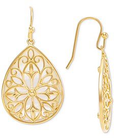 Mother-of-Pearl Filigree Overlay Teardrop Drop Earrings in 14k Gold-Plated Sterling Silver