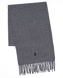 Men's Solid Wool Muffler with Fringe Trim