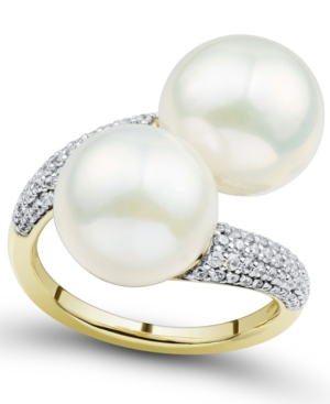 Cultured Ming Pearl (11mm) & Diamond (3/8 ct. t.w.) Bypass Ring in 14k Gold