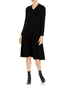 Long-Sleeve V-Neck Dress