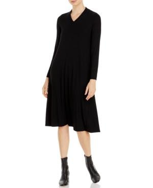 Eileen Fisher Women's V-neck Long-sleeve Dress In Black