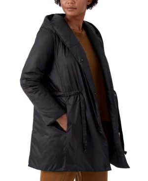 Eileen Fisher HOODED DRAWSTRING-WAIST COAT