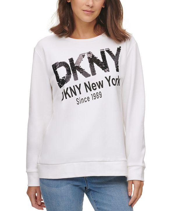 DKNY Metallic Logo French Terry Sweatshirt