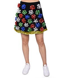 Juniors' Bow-Embellished Sweater Skirt