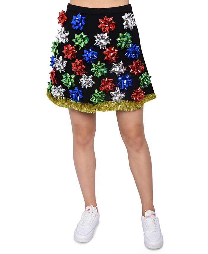 Planet Gold - Juniors' Bow-Embellished Sweater Skirt