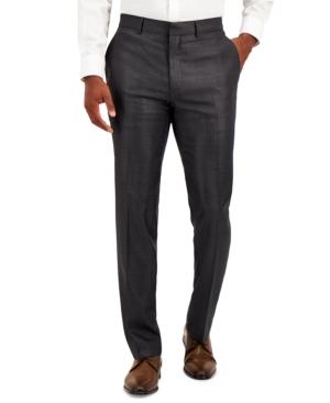 Men's Techni-Cole Gunmetal Suit Separate Slim-Fit Pants