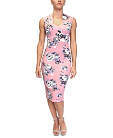 Juniors' Floral-Print Bodycon Dress