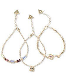 Gold-Tone 3-Pc. Set Crystal & Padlock Chain Bracelets