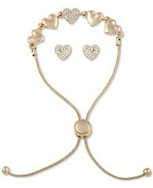 Gold-Tone Crystal Heart Slider Bracelet & Stud Earrings Set