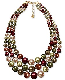 "Gold-Tone Multicolor Imitation Pearl Layered Collar Necklace, 16-1/2"" + 2"" extender, Created for Macy's"