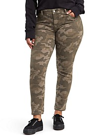 Trendy Plus Size 311 Camo-Print Shaping Skinny Jeans