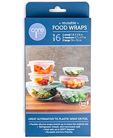 Reusable Clear Silicone Food Wraps, Set of 6