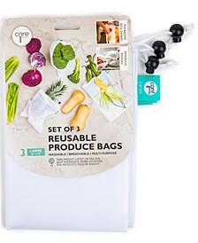 Set of 3 Reusable White Mesh Produce Bags, Large