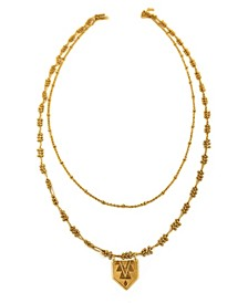 Women's 14K Gold Plated Double Strand Necklace with Mayan Pendant