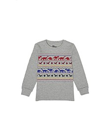 Toddler Boys Long Sleeve Multi Dino Graphic Thermal