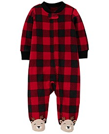 Baby Boy 1-Piece Buffalo Check Fleece Footie PJs