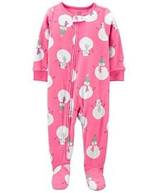 Toddler Girl 1-Piece Snowman Fleece Footie PJs