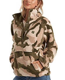 Juniors' Printed Faux-Sherpa Pullover Jacket