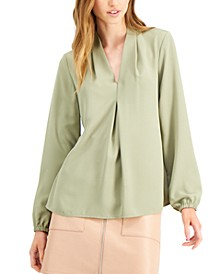 V-Neck Peasant-Sleeve Blouse, Created for Macy's