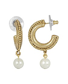 Women's 14K Gold Dipped Imitation Pearl Drop Hoop Earrings
