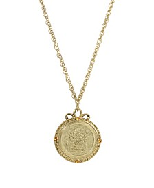 Women's Gold Tone November Flower Of The Month Chrysanthemum Necklace