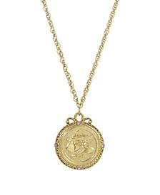 Women's Gold Tone June Flower of the Month Rose Necklace