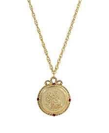 Women's Gold Tone January Flower of the Month Carnations Necklace 20Inch