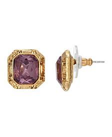 Women's Gold Tone Purple Square Post Earring