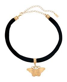 Women's Black Velvet Choker with Gold Tone Butterfly Pendant Necklace