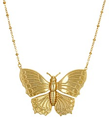 Women's Gold Tone Statement Butterfly Necklace