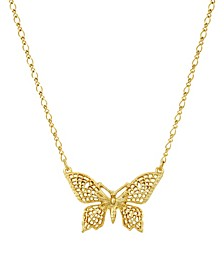 Women's Gold Tone Filigree Butterfly Pendant Necklace