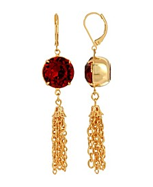 Women's Gold Tone Red Swarovski Crystal Tassel Drop Earrings