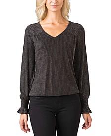 Black Label Women's Plus Size Metallic Smocked Blouson Sleeve Knit Top