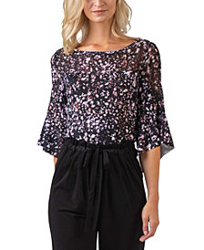 Black Label Women's Plus Size Printed Flare Sleeve Top