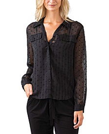 Black Label Women's Plus Size Metallic Stripe Collared Shirt with Front Pockets