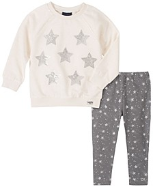 Little Girls Two-Piece Stars Fleece Tunic with Star Print Legging Set
