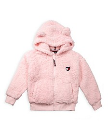 Toddler Girl Fuzzy Zip Up Hoodie with Heart Flag Patch and Ears