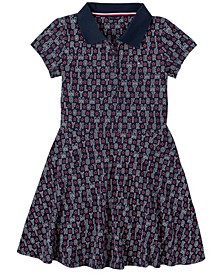 Big Girl Printed Pique Polo Dress